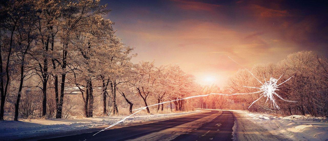 Vinter bilruta krossad